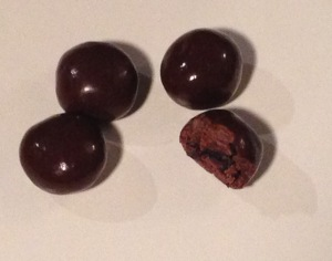 Dark chocolate covered cranberries.